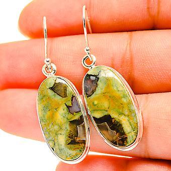 """Rainforest Opal Earrings 1 3/4"""" (925 Sterling Silver)  - Handmade Boho Vintage Jewelry EARR417129"""