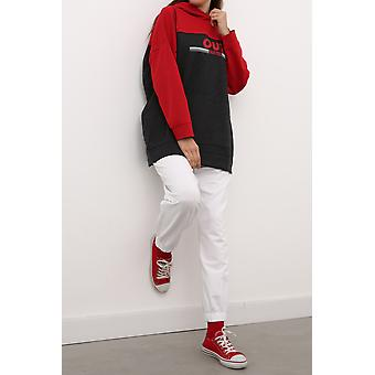 Double Colored Hooded Printed Sweatshirt