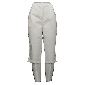 Denim & Co. Dame&ampos;s Bukser Stretch Twill 2 Pocket Pedal Pushers Hvit A70851