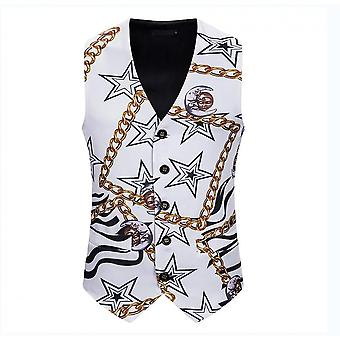 Mens White Star Printed Single Breasted Vest Gothic Steampunk Victorian Brocade Waistcoat