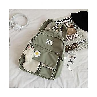 Soft Solid Panelled Floral Pattern School Bags For Teenagegreen