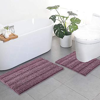 Tapis de salle de bain Mauve, ensembles de tapis de contour, tapis de bain extra épais, tapis de bain hirsutes en peluche doux antidérapants (50 x 80cm plus 50 x 50cm u)