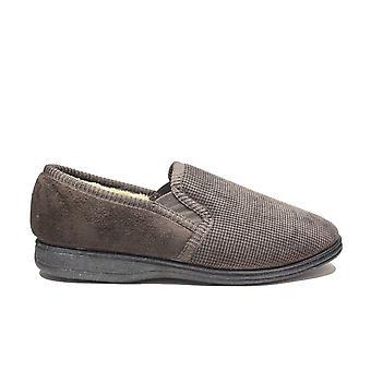 Fleet & Foster Tim Brown Textile Mens Full Shoe Slip På Tofflor