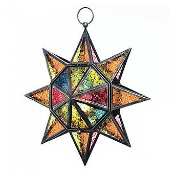 Gallery of Light Pressed Glass Multi-Colored Star Candle Lantern, Pack of 1