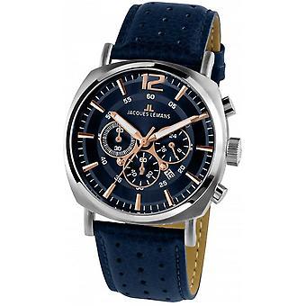 Jacques Leman's Blue Genuine Leather 1-1645I Reloj de Hombre