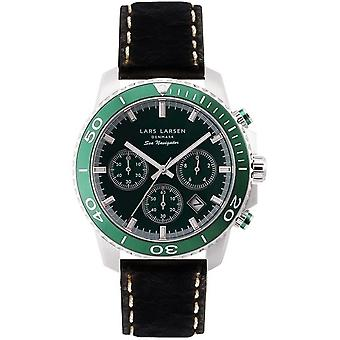 LLarsen (Lars Larsen Black Genuine Leather) 134-Green/Black Men's Watch