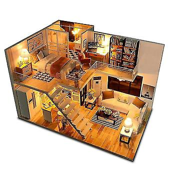 Dollhouse accessories assemble diy wooden house dollhouse kit wooden miniature doll houses miniature dollhouse toys with