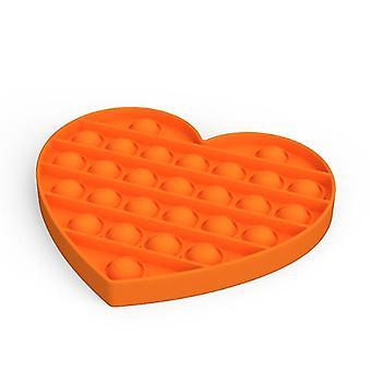 Push Pops Bubble sensorisches Spielzeug für besondere Bedürfnisse Autismus Anti-Stress (Herz - Orange)