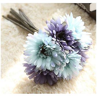 Artificial Daisy Flower Bridal Bridesmaid Bouquet 7 Branches Silk Daisy Flower Diy Décoration Bleu