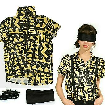 Girls Stranger Things 3 Eleven Costume Halloween Cosplay Shirt Straps Blindfold