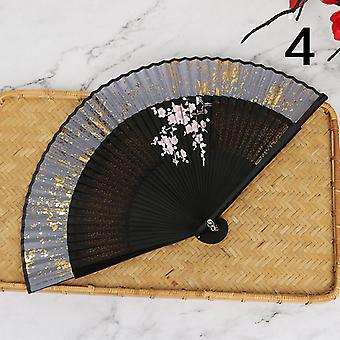 Handgemachter chinesischer Stil Tragbare Hanfu Spray-bemalte Bambus Fan Tanz Fan