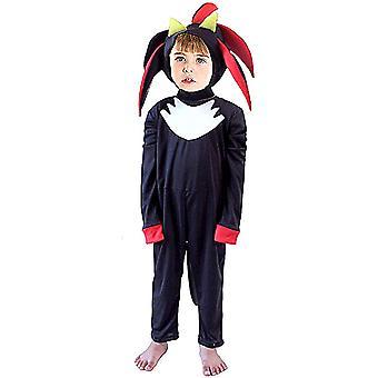 Kids Black Hedgehog Super Shadow Halloween Costume Jumpsuit Boys Game Character Cosplay Fancy-dress