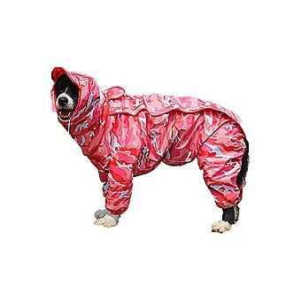 Impermeable de perro rosa camuflaje con abrigo de sudadera con capucha desmontable, 10 tamaños