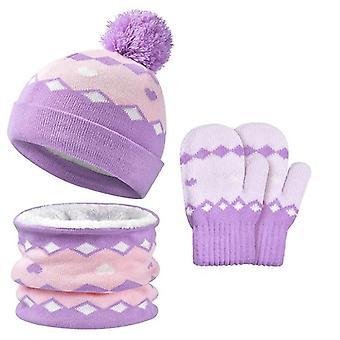 Children's Hat Scarf Gloves Set Thermal Winter Warm Knitted Beanie Set