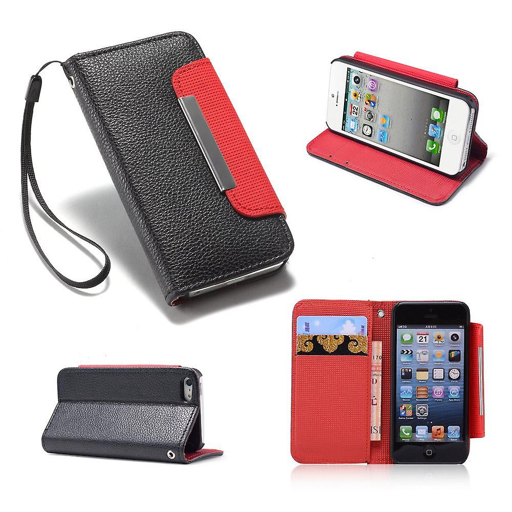 Stand Book case cover for Apple iPhone 5 5S SE + stylus - Black