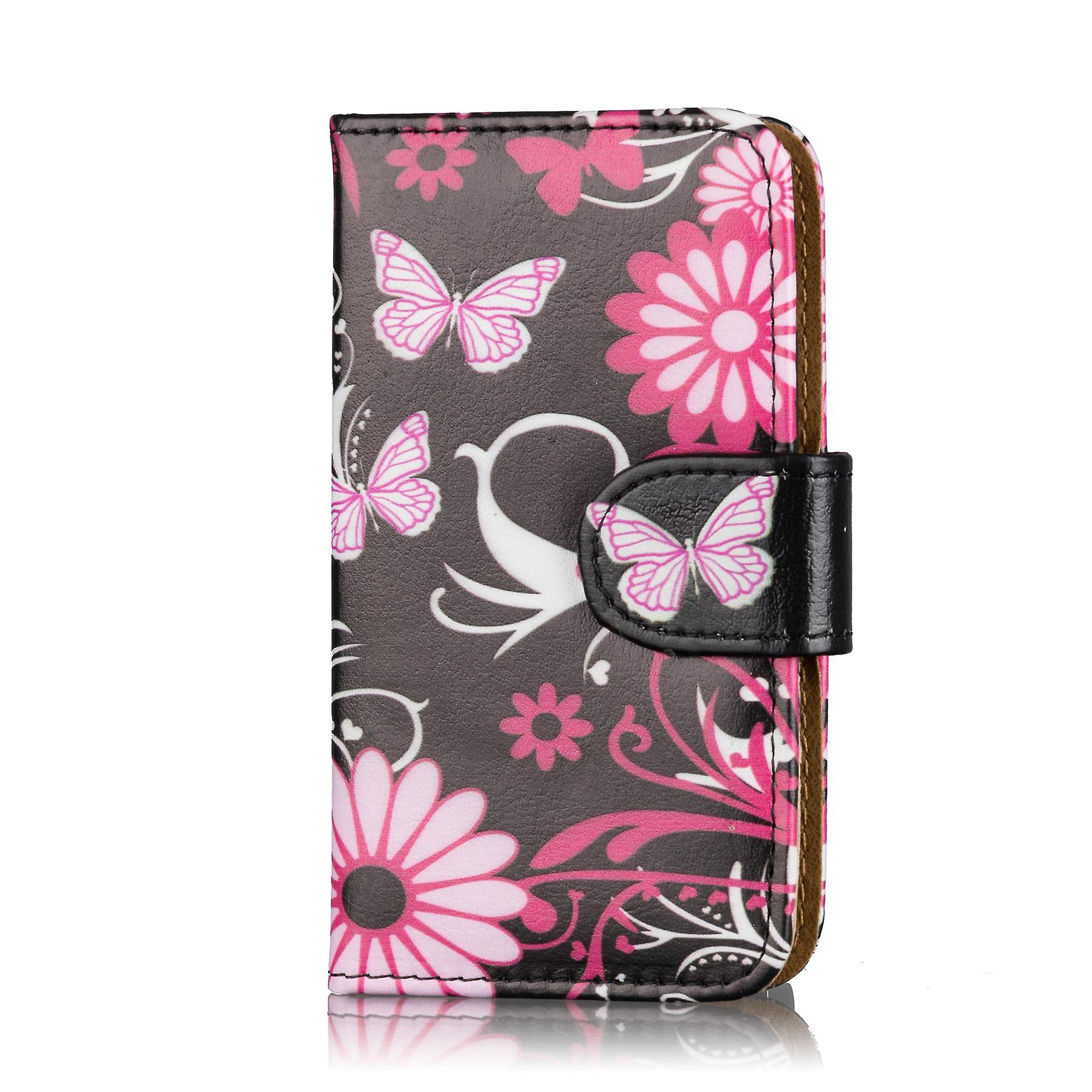 Design Book PU Leather Case Cover for Samsung Galaxy S5 G900 - Gerbera