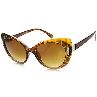 Womens Mod Retro Oversized Metal Accent Adorned Cat Eye Sunglasses