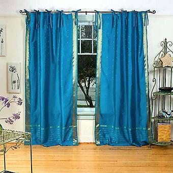 Tenda Top Sheer Sari cravatta turchese / drappo / pannello - coppia