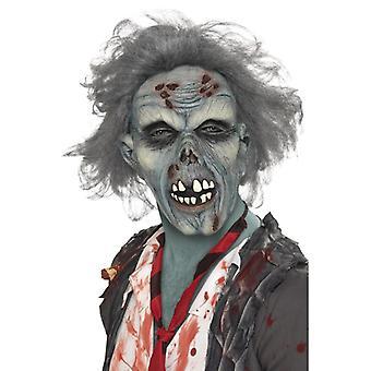 Zombie Maske Halloween Verwesender Schädel mit Haaren
