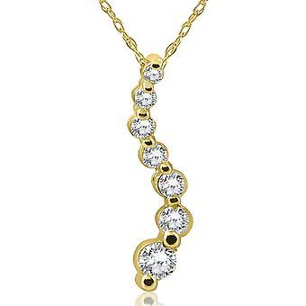 1/2ct Diamond Journey Pendant Necklace 14K Yellow Gold