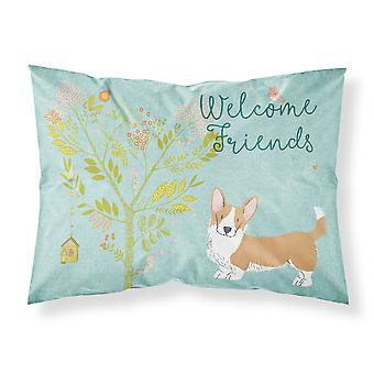 Welcome Friends Cardigan Welsh Corgi Tricolor Fabric Standard Pillowcase