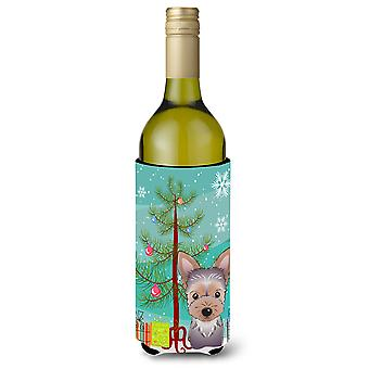 Christmas Tree and Yorkie Puppy Wine Bottle Beverage Insulator Hugger