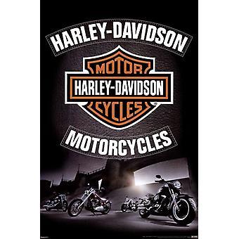 Harley Davidson - Leder-Poster-Plakat-Druck