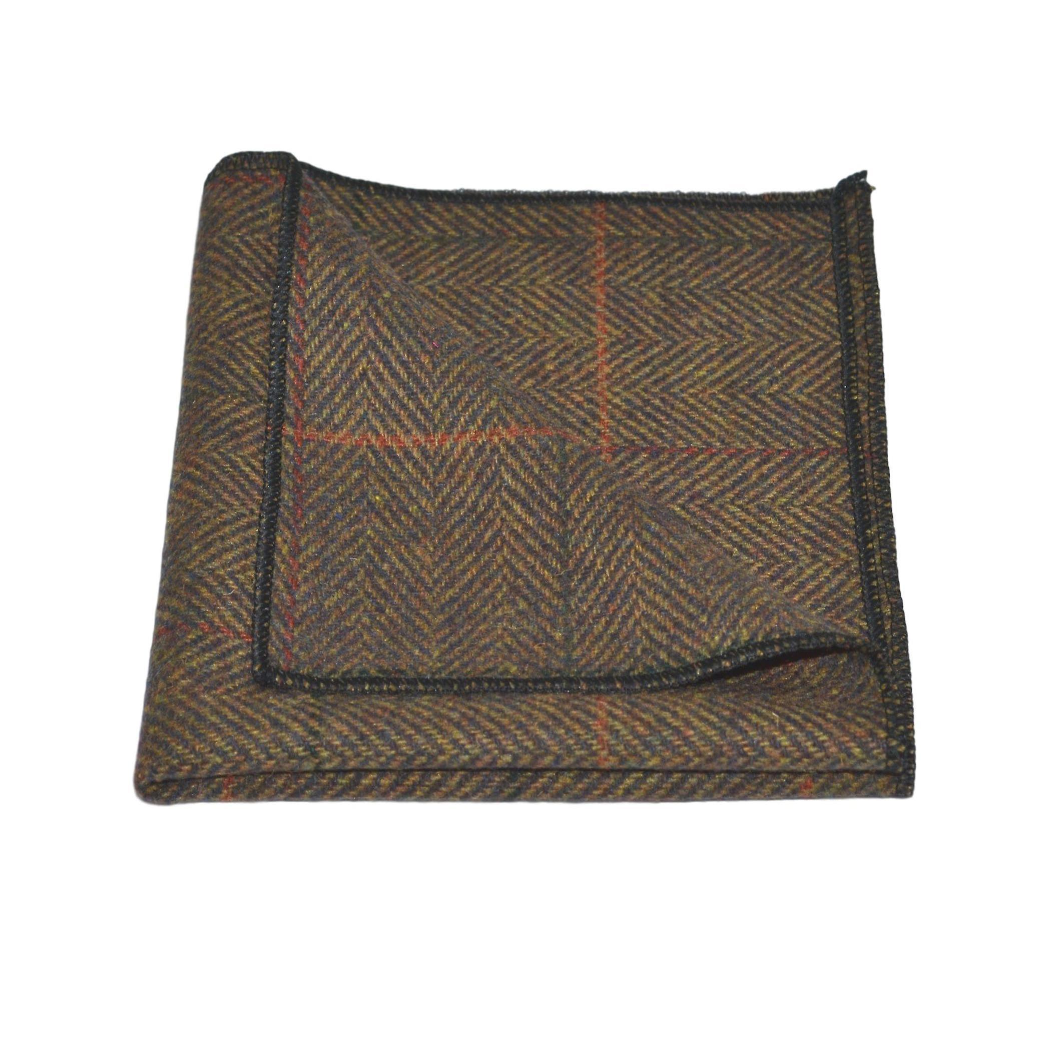 Luxury Dijon Herringbone Check Tie & Pocket Square Set, Tweed