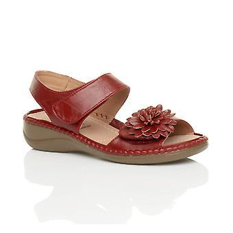 Ajvani womens låg kil klack krok & loop remmen slingback blomma comfort läder innersula sandaler skor