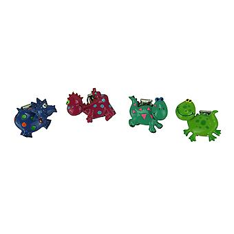Set of 4 Whimsical Bobble Head Dinosaur Clip Magnets