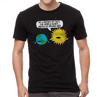 Mundo humor gira en camiseta negra de los hombres