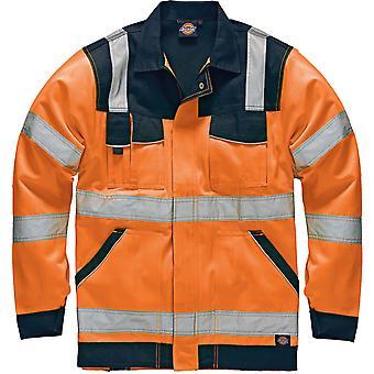 Dickies miesten teollisuus näkyvyyttä viz PolyCotton takki oranssi