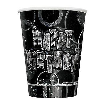 Fødselsdag Glitz sort & sølv Happy Birthday sort prisme kopper