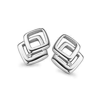 Orphelia Silver 925 Earring Double Square Diamond   ZO-5001