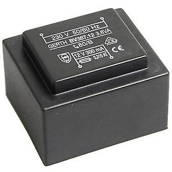 Gerth PTG383602 PCB mount transformer 1 x 230 V 2 x 18 V AC 3.60 VA 100 mA