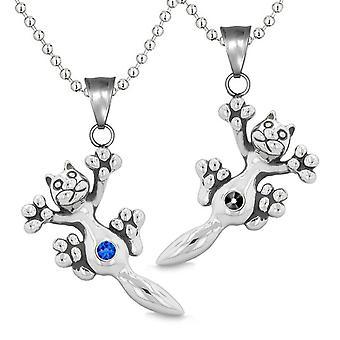 Amulette, die niedlichen Kätzchen Katze Liebespaare oder beste Freunde blau Set schwarz funkelnden Kristallen Halsketten