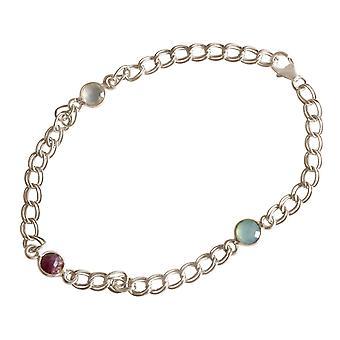 Gemshine armbånd sølv Ruby Kalkedon Rødehavet grønn kjede glatt