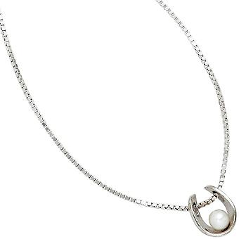 Horseshoe charm 925 sterling silver rhodium plated 1 Freshwater Pearl