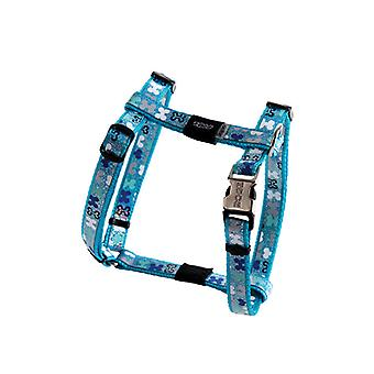 Rogz Lapz Trendy Bone Design Durable Dog H-Harness Azul, Pequeno