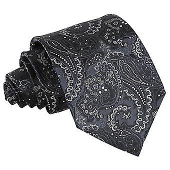 Preto e prata Royal Paisley gravata clássica
