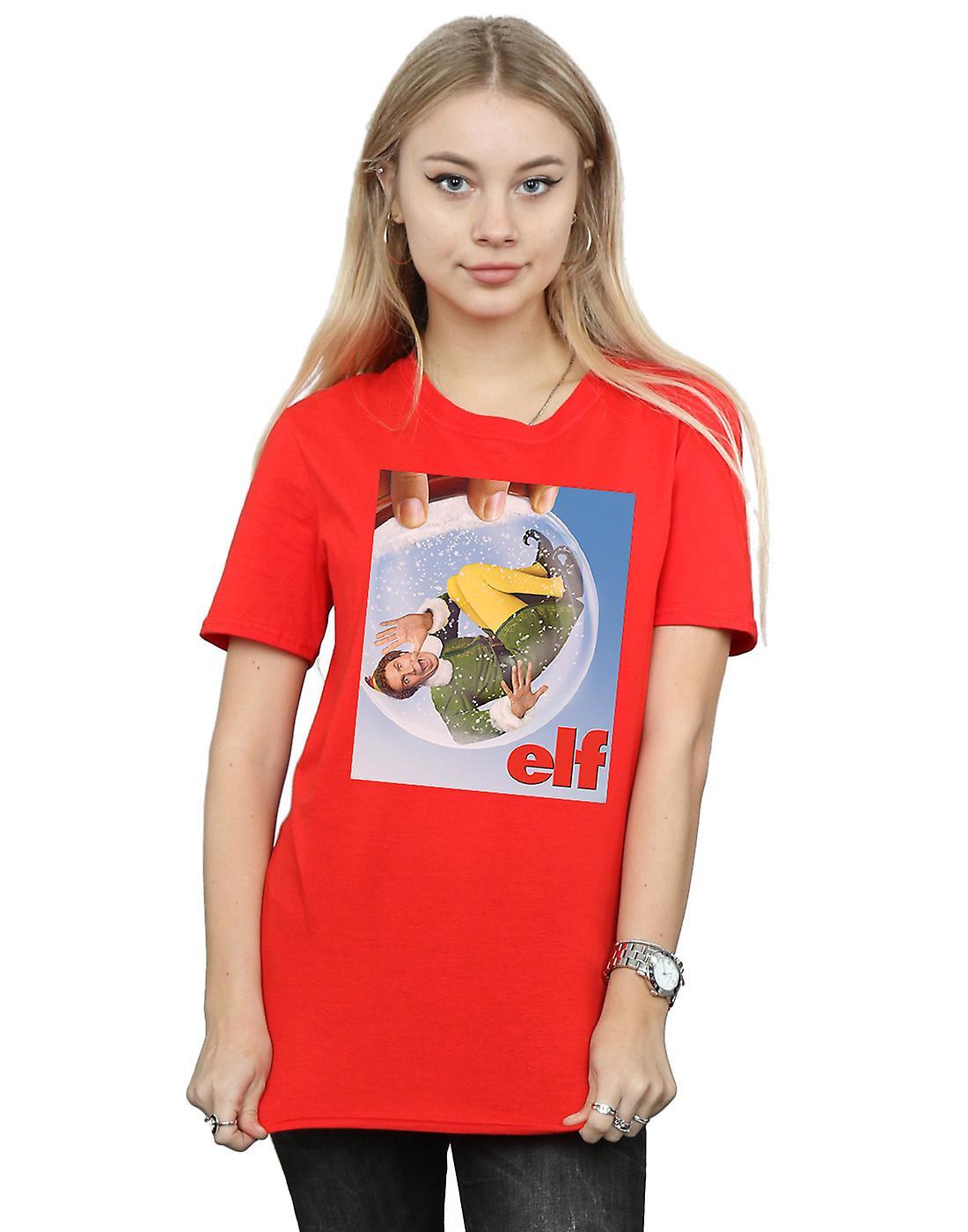 Elf Women's Snow Globe Poster Boyfriend Fit T-Shirt