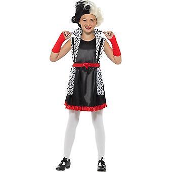 Cruella Deville paha vähän Madame puku, tytöt naamiaispuku keskipitkällä ikä 7-9