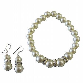 Fantastisk bryllup smykker i krem perle armbånd Øreringer Set