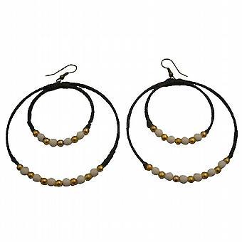 Double cordon Hoop Hoop Cire Double Blanc Turquoise Boucles d'oreilles perles dorées