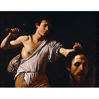 David mit dem Kopf von Goliath, Caravaggio, 50x40cm