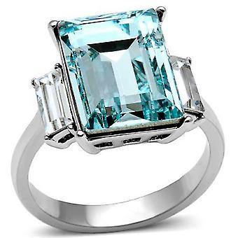 3 Стоун Ever прочный кольцо Аква морской изумрудной Cut Лаборатория созданные алмазы и четкие камни