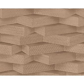 3D mønster tapet træ effekt geometriske blokke Brun beige Indsæt væg vinyl