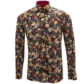 Claudio Lugli Black Floral Print Long Sleeve Pure Cotton Mens Shirt