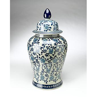 AA Importing 59707 24 Inch Antiqued Pale Green And Blue Jar With Lid