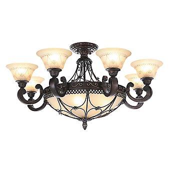 Glasberg - Antiquariato Twelve Light Semi-Flush Luce del soffitto con vetro 382012812